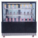 頂点のLEDライトが付いている電気ケーキの飾り戸棚のクーラーのショーケース