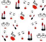 Red Lip Lipstick Pattern Water Nail Art Autocollants Nail Sticker
