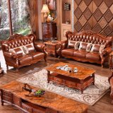 Sofá de couro com os gabinetes para a mobília da sala de visitas
