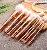 kit sostenido de bambú del cepillo del maquillaje del oro 9PCS con el pelo de la harina