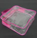 Saco de plástico cor-de-rosa feito sob encomenda do saco tridimensional dos cosméticos do PVC