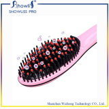 Straightener quente do cabelo da escova de cabelo do ferro liso da etiqueta confidencial