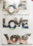 Scambi di calore di disegno del Rhinestone di amore di alfabeto per le magliette (HF-Amore)