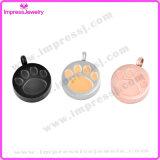 Verbrennung-Halsketten für Aschen-runden Anhänger mit der Tatze Ijd9738