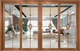 Puerta deslizante de aluminio de madera de la cereza de la manera del vidrio Tempered