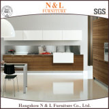 N&L Kirsch-/Eichen-festes Holz-Glastür-italienischer Möbel-Entwurfs-Küche-Schrank