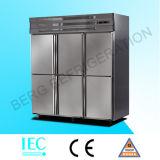 Réfrigérateur professionnel vertical à 4 portes en acier inoxydable avec Ce