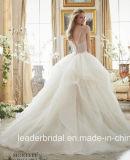 Coram os vestidos de esfera nupciais do espartilho que perlam o vestido de casamento inchado Mrl2887 de Organza