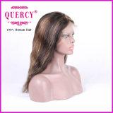 Menschen-Jungfrau-wellenförmige vordere Spitze-Perücke der Höhepunkt-Farben-100%, Menschenhaar 100%