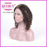 普及した波状の着色された毛のRemyのバージンのブラジルの前部レースの人間の毛髪のかつら