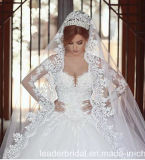 Vestidos de casamento longos nupciais We2015 de Tulle das luvas do vestido de esfera do laço