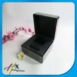 Rectángulo de joyería de lujo de madera de la fibra falsa del carbón fijado con cuero negro adentro