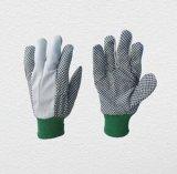 хлопок поставленный точки PVC Glove-2205 запястья руки Knit зеленого цвета 5+7oz