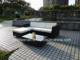 Rattan plástico sofá ao ar livre tecido da mobília