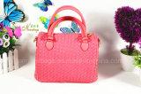 Frauen Handtasche gesponnenes PU-Schulter-Beutel-Mappe 4 PCS-Set