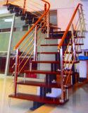 Klassisches elegantes European-Style Edelstahl-festes Holz-Treppenhaus