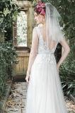 Sheer Boat Neckline Vestidos de noiva Menta Tulle Lace Vestidos de noiva W176281