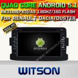 GPS van 5.1 Auto DVD van Witson Androïde voor Renault Dacia met de Steun van ROM WiFi 3G Internet DVR van Chipset 1080P 16g (A5787)
