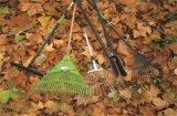 Rastrello capo di plastica di rinforzo del foglio degli strumenti di giardino con la maniglia di legno