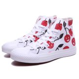 高いTop Cheap Womens WhiteかRed Cherry Print Canvas Shoes