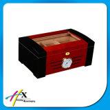 Rectángulo de madera de lujo modificado para requisitos particulares 2 capas del rectángulo de empaquetado del cedro del cigarro negro del Humidor
