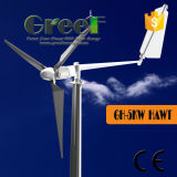 fora-Grade da turbina de vento da linha central 5kw e sistema horizontais da em-Grade