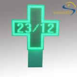 Affichage en travers extérieur de pharmacie de la publicité DEL de la température de datte de temps de la couleur P12.5 verte