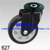 Schwarze PU-Schritt-Schwenker-Doppelt-Verriegelungs-Schraubverschluss- schwarze Rahmen-Fußrolle