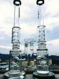 La ducha dual del tubo blanco poner crema de K42 23inch en línea se infiltra los tubos del vidrio de agua