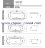 Óvalo de Sunboat Flushbonading tina ordinaria del hogar de 1.8 M profundizada alrededor de la bañera del arrabio del esmalte
