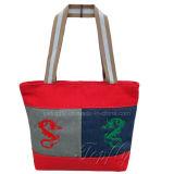 Sacchetto di Tote promozionale della tela di canapa di acquisto con i marchi del ricamo