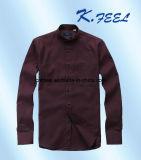 Het donkerblauwe Overhemd van de Streep van de Speld met Mandarin Kraag