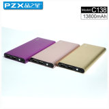 Pzx-C138! Dois Saídas, LED Light, LCD Display Polymer Slim Power Bank 13800mAh