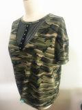 Camisa impressa Camo redonda da garganta T do algodão da roupa das mulheres da forma