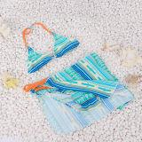 女の子の青および黄色の点のための袋が付いている美しい水着