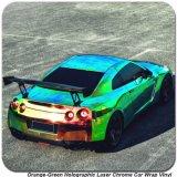 Винил цвета тела автомобиля крома лазера Tsautop 1.42*20m померанцовый зеленый голографический изменяя