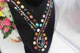 Los granos coloreados collar del cordón de la manera de Europa cosen en la red del acoplamiento de los granos (TA-006)