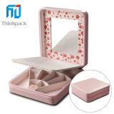 Nuevo estilo de cuero de la joyería caja de regalo con el espejo