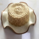 100% бумаги соломенной шляпе, Мода Стиль Falbala с цветком Украшения для детей