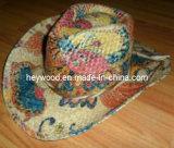 sombrero de vaquero de la impresión de la paja de la rafia
