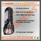 Linterna recargable de 1W LED con la lámpara de lectura de 12 LED (SH-1913)