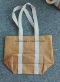 Bolso de tienda de comestibles de la maneta de la lona de la bolsa de papel lavable