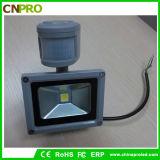 セリウムのRoHS公認10W PIRセンサーLEDのフラッドライト