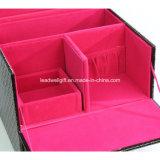 Organizador negro de madera de la caja del rectángulo de almacenaje de los niveles de la visualización 2 del maquillaje del accesorio y del cosmético de la joyería del diseño interior de Felted del color de rosa del modelo con el bloqueo y el clave