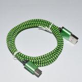 Cable trenzado de nylon del USB del metal del nuevo diseño caliente 2017