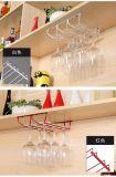 Het Rek van het Glas van de wijn, Hanger van het Glas van de Wijn van het Roestvrij staal van 2 Rijen de Aan de muur bevestigde voor het Huis van de Staaf