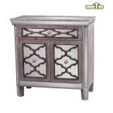 Mesa de consola de madeira de 2 gavetas espelhada em acabamento de madeira natural