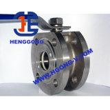 API/DIN que flutua a válvula de esfera pneumática do aço inoxidável da bolacha