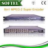 Mpeg-2 8 in 1 Super Codeur met IP Output, Codeur 8 Cvbs