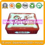 Caja de hojalata rectangular de grado alimenticio para galletas de chocolate, lata de galletas
